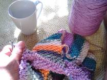 Knitting, a blanket of many colors!